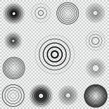 Reeks van het de cirkelelement van het radarscherm de concentrische Correcte golf Het doel van de cirkelrotatie Radiostationsigna Stock Afbeeldingen