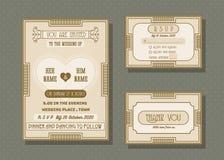 Reeks van het de kaart de vectormalplaatje van de huwelijksuitnodiging Royalty-vrije Stock Foto