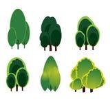 Reeks van het de kunstontwerp van het boombeeldverhaal de vector Royalty-vrije Stock Afbeelding