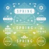 Reeks van het de lente de Typografische Ontwerp Retro en Uitstekende Stijlmalplaatjes Royalty-vrije Stock Afbeelding