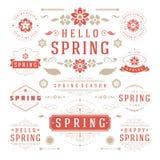 Reeks van het de lente de Typografische Ontwerp Retro en Uitstekende Stijlmalplaatjes Royalty-vrije Stock Fotografie
