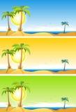 Reeks van het de zomer de Tropische Strand royalty-vrije illustratie
