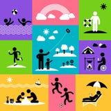 Reeks van het de zomer de vlakke pictogram Stock Foto's