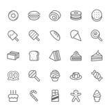 Reeks van het Dessert van de Overzichtsslag en Zoet pictogram Royalty-vrije Stock Foto's
