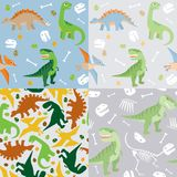 Reeks van het dinosaurus de naadloze patroon Stock Foto