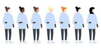 Reeks van het diverse zijaanzicht van ras vectorvrouwen Leuke en eenvoudige moderne vlakke stijl stock illustratie