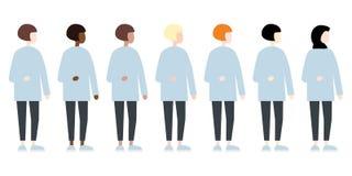 Reeks van het diverse zijaanzicht van ras vectorvrouwen Leuke en eenvoudige moderne vlakke stijl vector illustratie