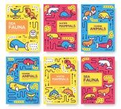 Reeks van het dunne lijn van het overzeese concept zoogdieren dierlijke patroon Kunstvissen in oceaan, tijdschrift, boek, affiche royalty-vrije illustratie
