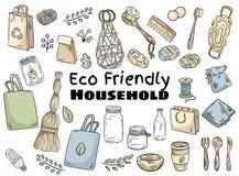 Reeks van het Eco de vriendschappelijke huishouden r Ga het groene leven stock illustratie