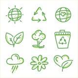 Reeks van het Eco de vriendschappelijke pictogram Stock Foto's
