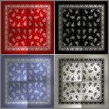 Reeks van het eenvoudige patroon van Paisley Bandana Stock Afbeelding