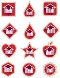 Reeks van het familie de rode pictogram Stock Foto's