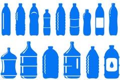 Reeks van het geïsoleerden pictogram van de waterfles Stock Foto