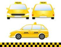 Reeks van het geïsoleerden silhouet van de taxiauto Stock Afbeeldingen