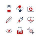 Reeks van het geneeskunde de eenvoudige vectorpictogram Stock Foto