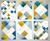 Reeks van het geometrische ontwerp van het vliegermalplaatje met blauwe en rode vierkante elementen Dekkingslay-out, brochure of  Stock Afbeeldingen