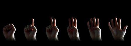 Reeks van het gesturing van handen Stock Afbeeldingen
