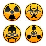 Reeks van het gevaars de vectorteken Stralingsteken, Biohazard-teken, Giftig teken, Chemisch Wapensteken royalty-vrije illustratie