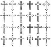 Reeks van het godsdienst de dwarspictogram stock illustratie