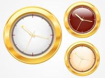 Reeks van het gouden glanzende ontwerp van het klokpictogram Royalty-vrije Stock Afbeeldingen