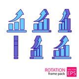 Reeks van het grafiek de roterende pictogram kaders Stock Afbeeldingen