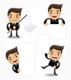 Reeks van het grappige pictogram van de beeldverhaalbeambte Stock Afbeeldingen