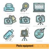 Reeks van het het Materiaaloverzicht van de Kleurenfoto het Webpictogrammen Stock Foto