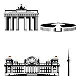 Reeks van het het monumentenpictogram van Berlijn de beroemde Royalty-vrije Stock Foto