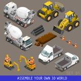 Reeks van het het Vervoer de Isometrische Vlakke 3d Pictogram van de stadsbouw Royalty-vrije Stock Afbeelding