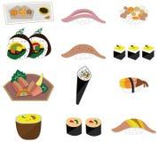 Reeks van het het voedselpictogram van Artoon de Japanse Royalty-vrije Stock Foto's