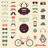 Reeks van het Hipster Retro Uitstekende Pictogram Stock Afbeelding