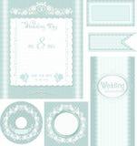 Reeks 1 van het huwelijk Turkooise achtergrond met rozen Stock Foto's