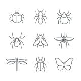 Reeks van het insect de eenvoudige vectorpictogram Stock Foto's