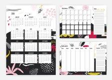 Reeks van het jaarkalender van 2019, maandelijks en wekelijkse ontwerpersmalplaatjes, nota's en die lijst te doen met artistiek g royalty-vrije illustratie