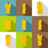 Reeks van het kaars de lichte pictogram, vlakke stijl Stock Foto