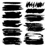Reeks van het kader van de borstelslag, de Zwarte slagen van de inkt grunge borstel royalty-vrije illustratie