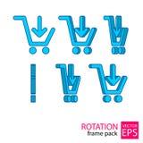 Reeks van het karretje de roterende pictogram kaders Stock Foto's