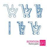 Reeks van het karretje de roterende pictogram kaders Stock Fotografie