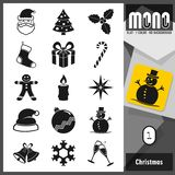 Reeks van het Kerstmis de vlakke pictogram Monoinzameling 15 vlakke transparante pictogrammen vector illustratie