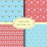 4 reeks van het Kerstmispatroon, vector Royalty-vrije Stock Foto