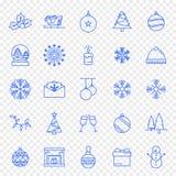25 reeks van het Kerstmispictogram Vector illustratie stock illustratie
