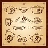 Reeks van het keuken de vectorpictogram Royalty-vrije Stock Foto