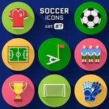 Reeks van het kleuren de vlakke pictogram voetbalelementen Stock Foto