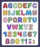 Reeks van het lapwerkalfabet en aantal symbolen Stock Afbeelding