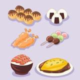Reeks van het leuke voedsel van Japan Stock Foto's