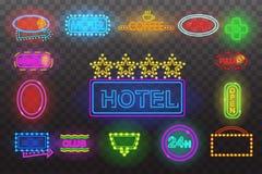 Reeks van het licht van het neonteken bij nacht transparante vectorillustratie als achtergrond, geïsoleerde heldere het gloeien e Royalty-vrije Stock Afbeeldingen