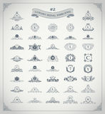 Reeks van het luxe de koninklijke embleem CREST, embleem, heraldisch monogram De wijnoogst bloeit elementen royalty-vrije illustratie