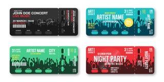 Reeks van het malplaatje van overlegkaartjes Overleg, partij, disco of de ontwerpsjabloon van het festivalkaartje met mensenmenig royalty-vrije stock fotografie