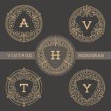 Reeks van het malplaatje van het monogramembleem Stock Afbeeldingen