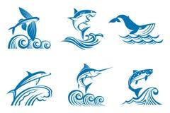 Reeks van het mariene leven op golven vector illustratie